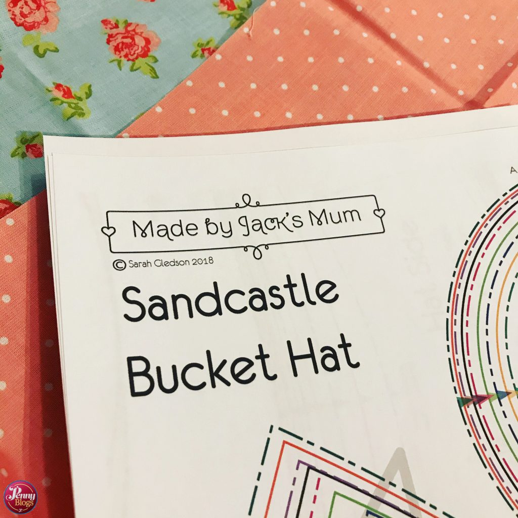 Sandcastle Bucket Hat Made By Jack's Mum - picture shows the pattern and my chosen fabric