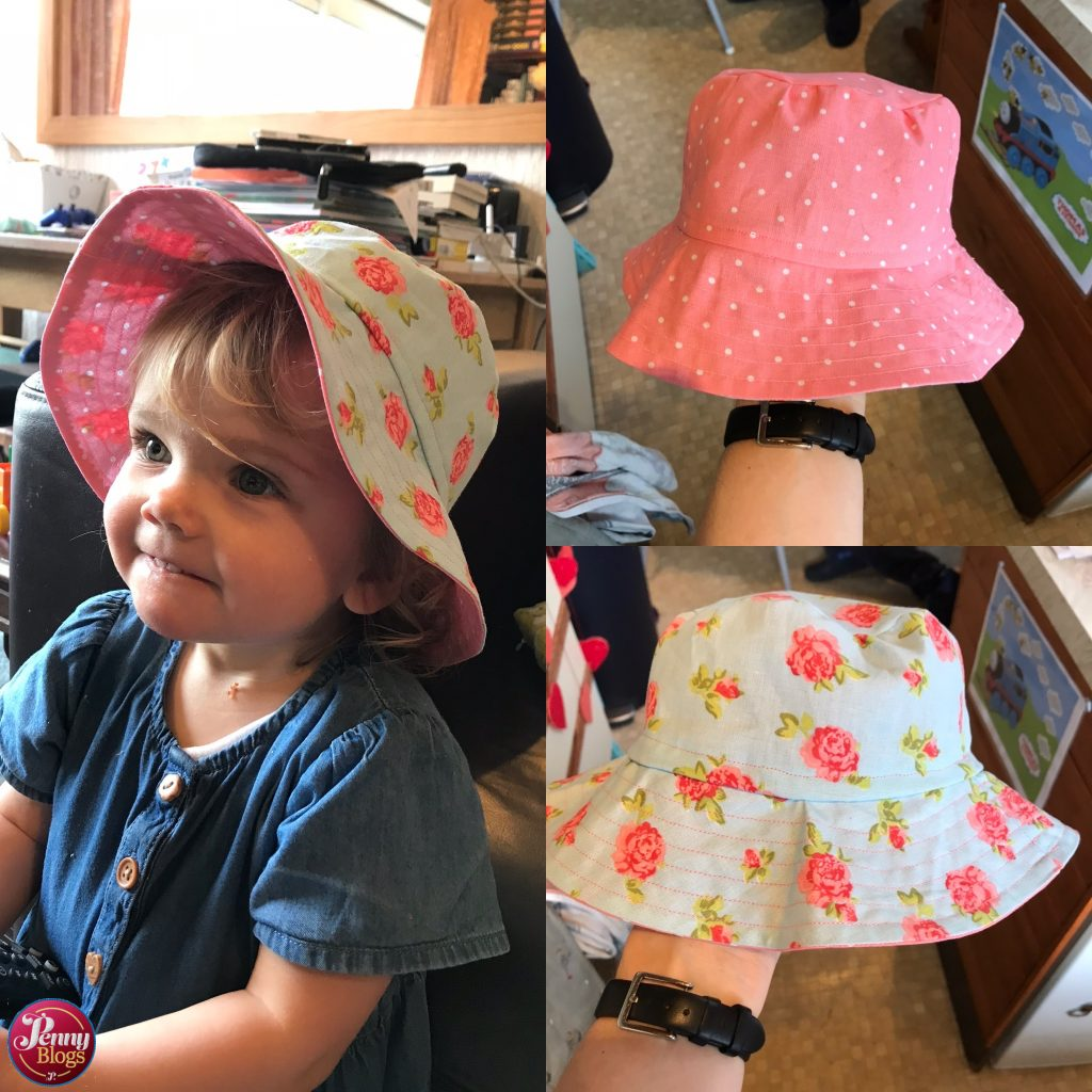 Sandcastle Bucket Hat Made By Jack's Mum - a collage of pictures showing the finished hat - both inside and outside and my daughter wearing it